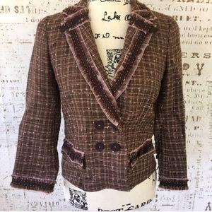 Rebecca Taylor NWOT tweed check blazer sz 6
